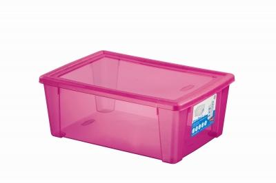 Cutie cu capac pentru depozitare rosie L, 1 buc., HOME - obiecte din masă plastică pentru casă,