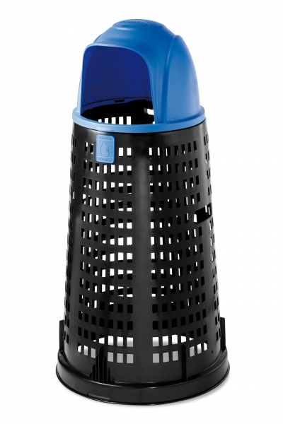 """Trespolo"" Dumpster black with blue lid, 58cm, h.107cm, 1 pcs., Tomberoane,"