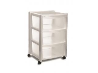 """Libera 3"" Plastic drawers white, 3 levels 40x40cm h63cm, 1 pcs."