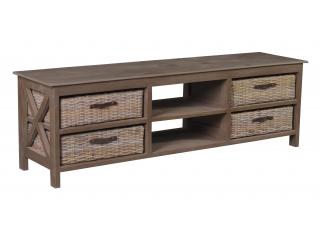 Comoda cu 4 sertare si raft din lemn de Mango/Rattan,150x39x46, 1 buc.