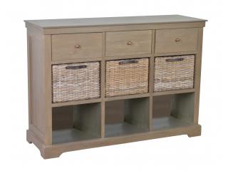 JV/Comoda din lemn de Mango/Rattan cu 3 sertare si 3 rafturi,120x40x85, 1 buc.