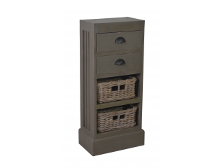 Comoda cu 2 sertare si 2 cosuri, Smoke Grey 41x24x90 cm, 1 buc.