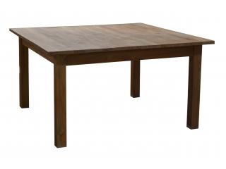 Masa patrata Indi din lemn Tic cu 2 sertare, 180x180x70,1 buc.
