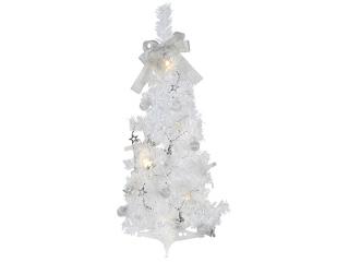 Bradut plastic White cu decor Silver, 60 cm, 1 buc.