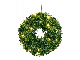 "Decor LED ""BuxbomWreath ""  fibra optica 25cm, 1 buc"
