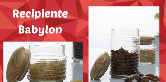 """Recipient perfect pentru păstrarea sănătoasă a produselor . Vas din sticlă cu capac din lemn """"Babylon """""""