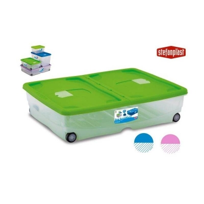 """""""SuperMario"""" Box multifunctional alb cu capac color cu rotile, 1 buc., HOME - obiecte din masă plastică pentru casă,"""