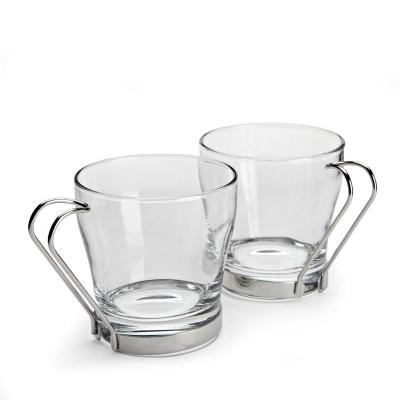 """""""Chroma"""" Set pahare cu suport metalic, 2 buc. 1/8, Cani pentru ceai şi cafea,"""
